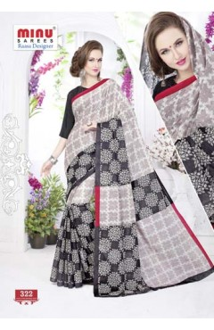 Beige & Black cotton printed saree