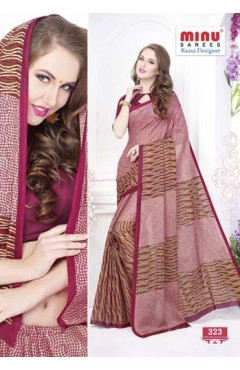 Marron cotton printed saree