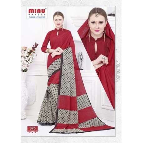 Red cotton printed saree