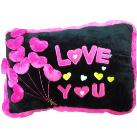 Chunmun Valentines Gift Iove You 3D Pillow - 50 cm  (Black, Pink)