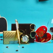 Gold Plated Gift Set with Love Greeting Card and Wallet For Him