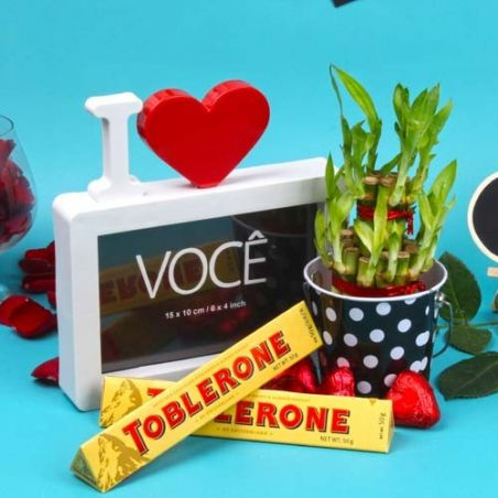 Love Frame and Toblerone Chocolates with Bamboo Plant