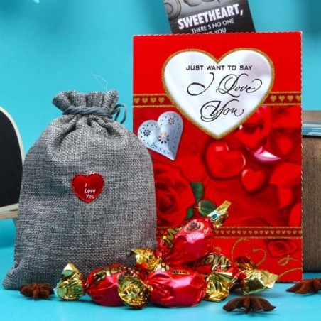Love Greeting Card with Merlin Rich Cream Toffees