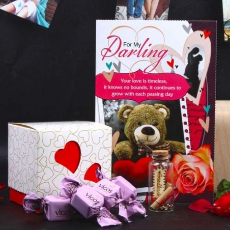 Valentine Gift of Message Bottle and Vigos Toffee with Love Card