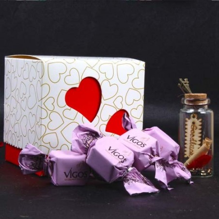 Valentine Combo of Scroll Message Bottle and Vigos Toffee