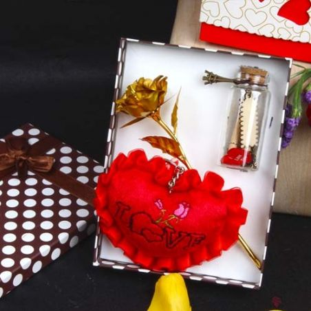 Golden Rose with Message of Heartly Love Combo