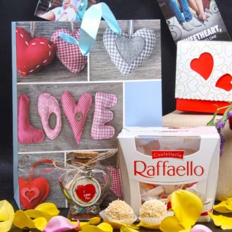 Raffaello Chocolate and Personalized Message Love Bottle Hamper