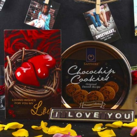 Sapphire Chocochip Cookies and I Love You Chocolate Hamper