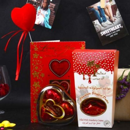 Chocolate Stuffed Dates and Wimmy Heart Shape Chocolate Love Combo