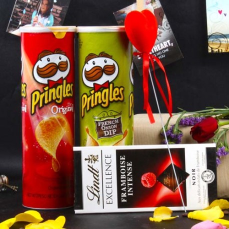 Valentine Special Lindt Chocolate and Pringles Chips Combo