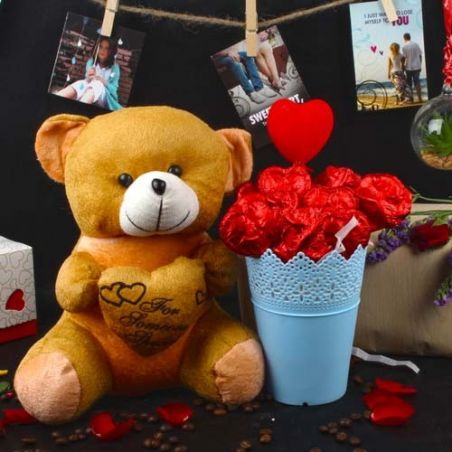 Valentines Gift of Chocolaty Roses Bouquet with Teddy Bear