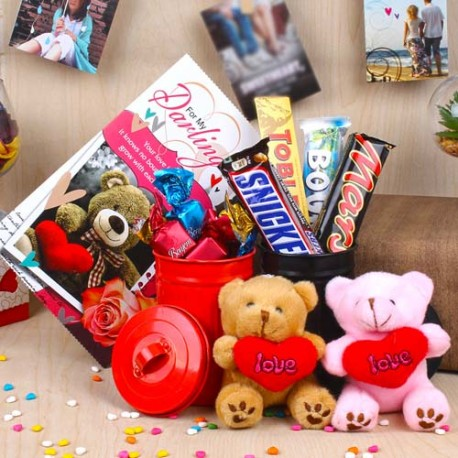 Love Couple Teddy Bears and Imported Chocolate Valentine Combo