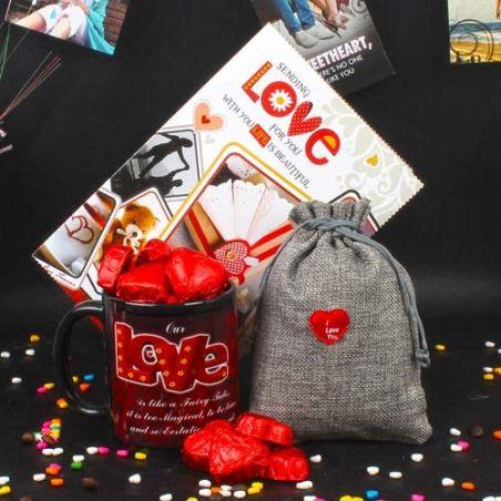 Love Mug and Heart Shape Chocolates Valentines Day Gifts