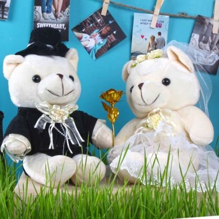 Wedding Couple Bear with Gold Plated Golden Rose for Cute Lover