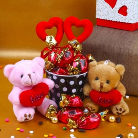 Valentine Special Hamper of Couple Teddy holding a heart with Merlin Chocolates