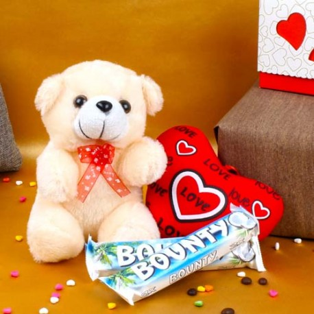 Teddy with Love Heart and Bounty Chocolates For Valentine Day