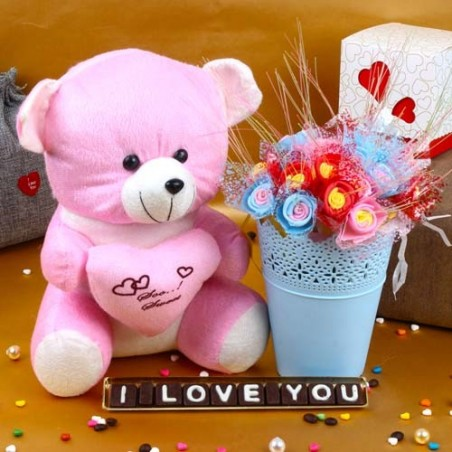Teddy Holding Heart with Love You Chocolates and Decorative Roses Basket