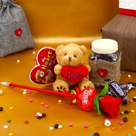 Snickers Miniatures Jar with Teddy Hamper Including Love Card and Artificial Rose