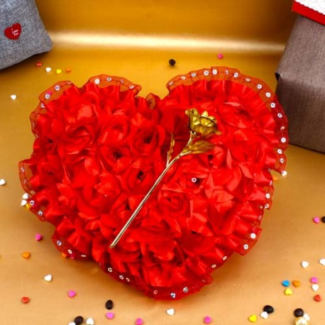 Red Heart with Gold Plated Golden Rose for Valentine Gift