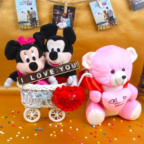 Mickey Minnie Mouse Toy Hand Cart with Love Chocolates Combo Including Teddy and Heart