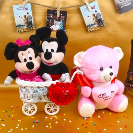 Teddy with Mickey Minnie Mouse Toy and Small Red Heart
