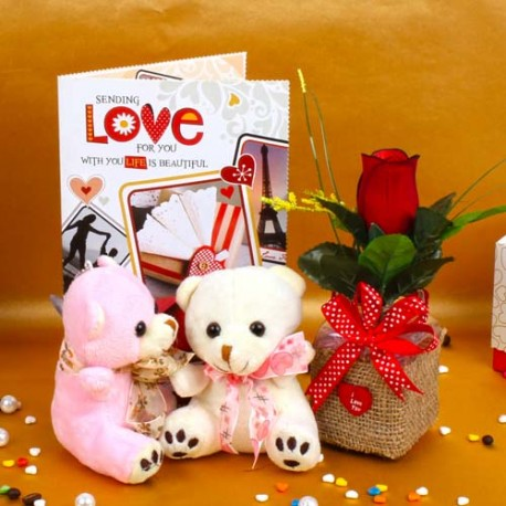 Red Rose with Couple Teddy Bear and Love Greeting Card
