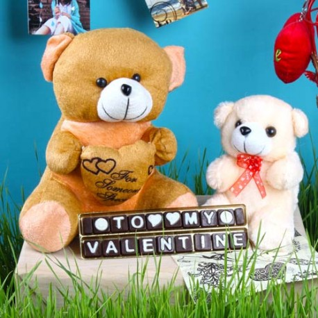 My Valentine Homemade Chocolate with Teddy Bear