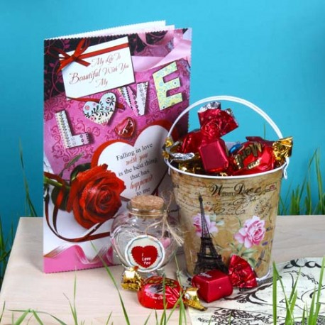 Customize Message Scroll Jar with Imported Toffees and Love Greeting Card