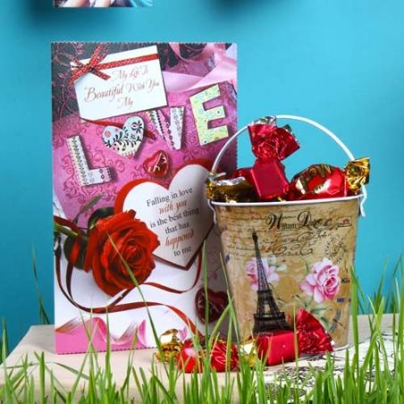 Imported Toffees Bucket and Love Greeting Card