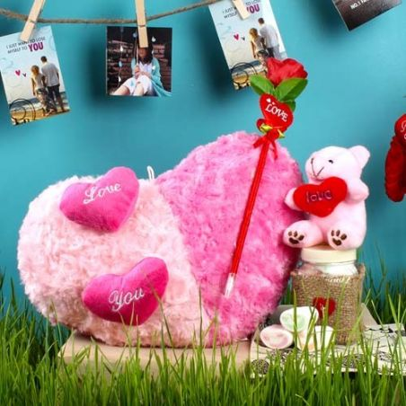 Dual Color Shades Heart Cushion with Artifical Rose and Teddy including Marshmallow