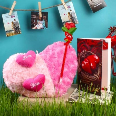 Artifical Rose Stick with Twin Color Heart Cushion and Love Card