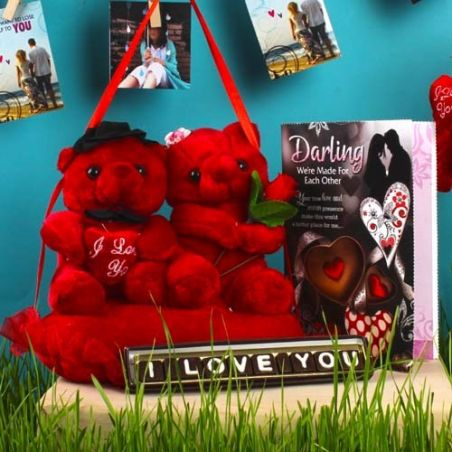 Hanging Couple Teddy with Love You Chocolate and Greeting Card