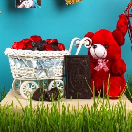 Teddy Bear with Miss You and Homemade Chocolate Hand Cart