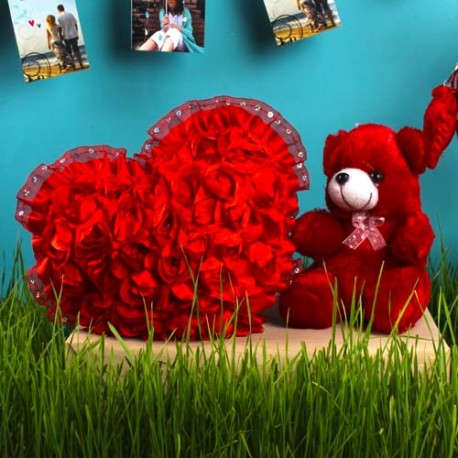 Lovely Red Heart and Teddy Gift Set