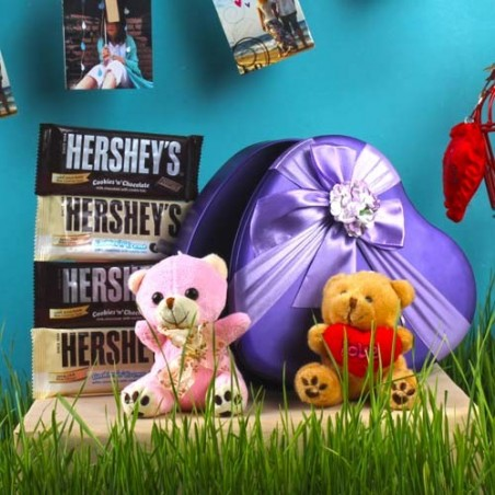 Cute Small Teddy with Hereshey Chocolate Gift Box