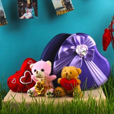 Soft Toy Heart Shape Gift Box with Gold Plated Rose