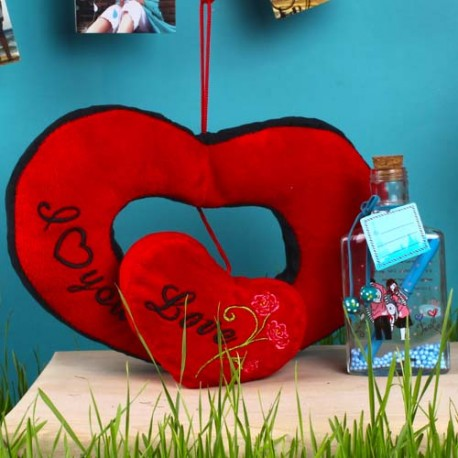 Double Heart Love Hanging and Customize Message Scroll Bottle For Valentine Gift
