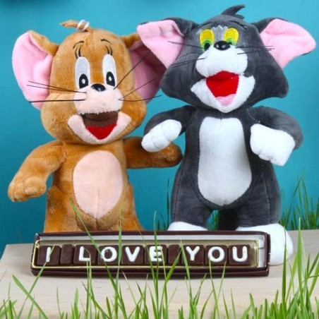Tom and Jerry Soft Toy with I Love You Icing Chocolates