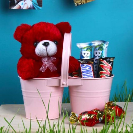Twin Love Basket of Teddy and Imported Chocolates