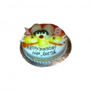 Winnie Pooh Pineapple Eggless Cake - 4 Pound (Globe Bakers)