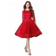 Red Lace Piece Frock