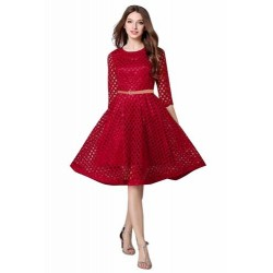 Maroon Lace Piece Frock