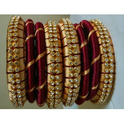 Maroon and golden Silk Thread Bangle