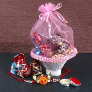 Ganesha Rakhi with Basket Pouch of Truffle Chocolates