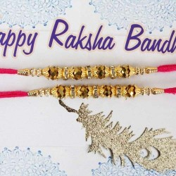 Golden Beads Rakhis