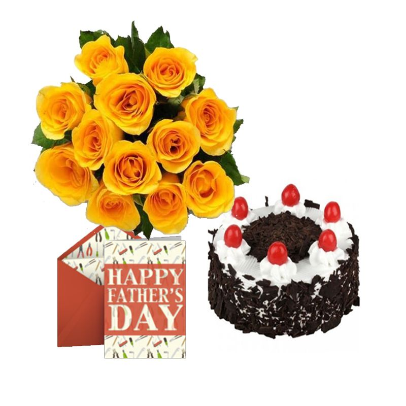 A Special Dozen beautiful 12 Yellow Roses Bunch with 1/2 Kg cake of your choice is a nice way to brighten this day and also a Fathers Day card to express ...