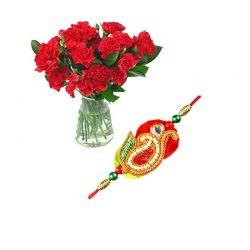 12 Red Carnation and Rakhi...