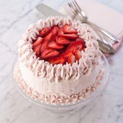 Strawberry Eggless Cake (Brownie Point)