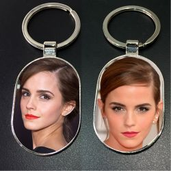 Metal oval Photo Key Chain