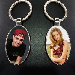 Oval Photo Key Chain double...